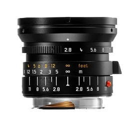 Leica 21mm f/2.8 Elmarit M Aspherical Super Wide Angle Lens -- Black, 6-bit