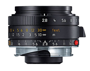 Leica 28mm f/2.8 Elmarit-M Aspherical Wide Angle Lens -- Black, 6-Bit