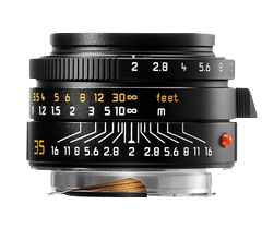 Leica 35mm f/2.0 Summicron M Aspherical Wide Angle Lens -- Black, 6-Bit