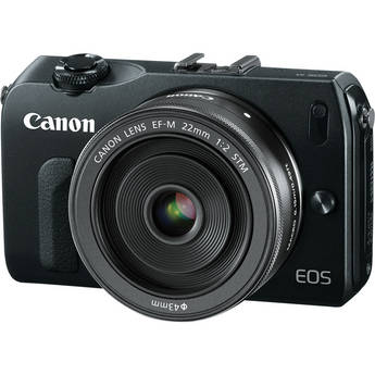 Canon EOS-M Mirrorless Digital Camera with EF-M 22mm f/2 STM Lens - Black