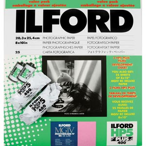 "Ilford Multigrade IV MGD.1M Black & White Variable Contrast RC (Resin Coated) Glossy Paper 8x10""-25 Sheets Value Pack (with 2 Rolls of Film)"