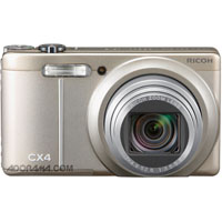 "Ricoh CX4 Digital Point & Shoot Camera, 10mp, 10.7x Optical Zoom, 3"" LCD Display, 5 FPS Shooting - Silver Finish - U.S.A. Warranty"