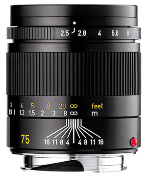 Leica 75mm f/2.5 Summarit-M Lens -- Black, 6-bit